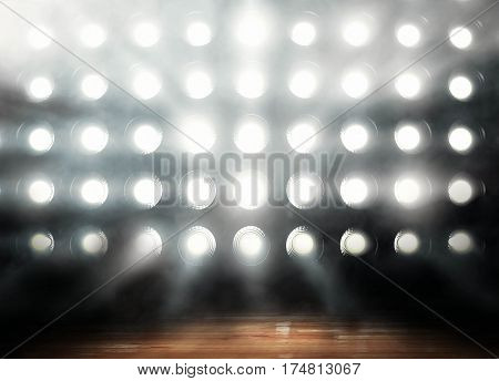 Professional basketball court arena with tribune and light, , render