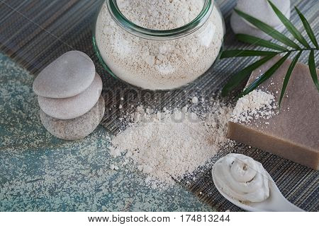 Natural ingredients for homemade facial and body mask scrub. White clay and natural homemade soap. Spa and bodycare concept.