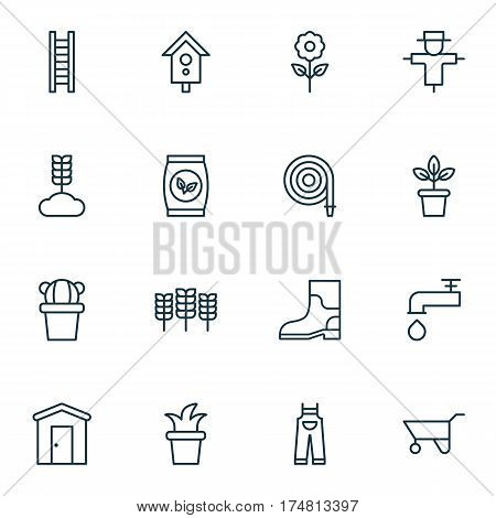 Set Of 16 Gardening Icons. Includes Bugbear, Spigot, Farmhouse And Other Symbols. Beautiful Design Elements.