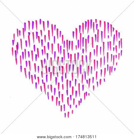 Heart with abstract color pattern on white background hand draw