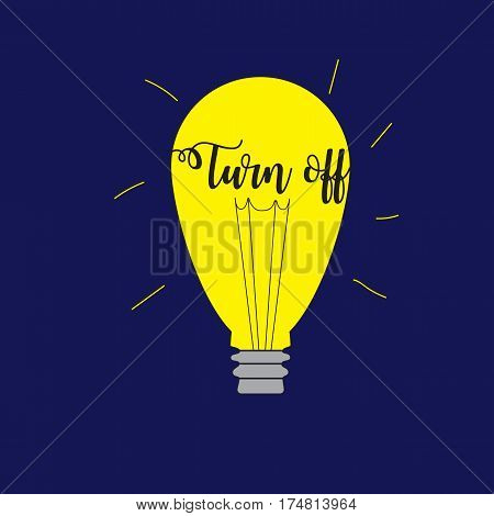 Light bulb on blue background. Earth Hour environmental movement illustration.