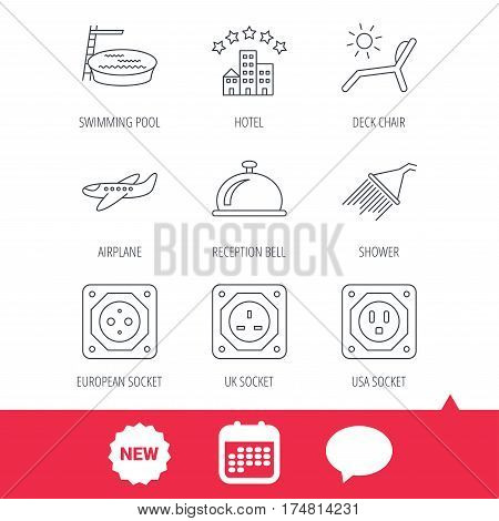 Hotel, swimming pool and beach deck chair icons. Reception bell, shower and airplane linear signs. European, UK and USA socket icons. New tag, speech bubble and calendar web icons. Vector