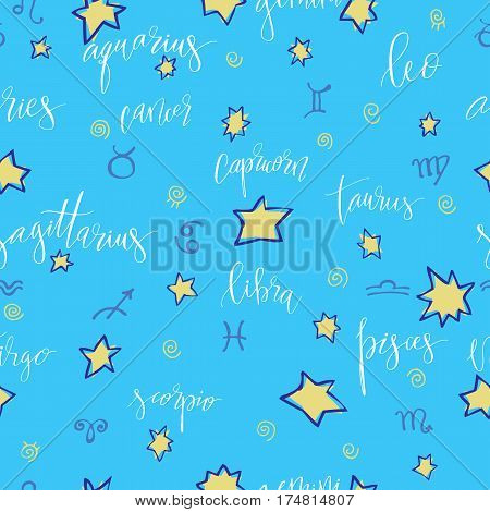 Seamless hand drawn background with stars and modern hand drawn lettering zodiacs names
