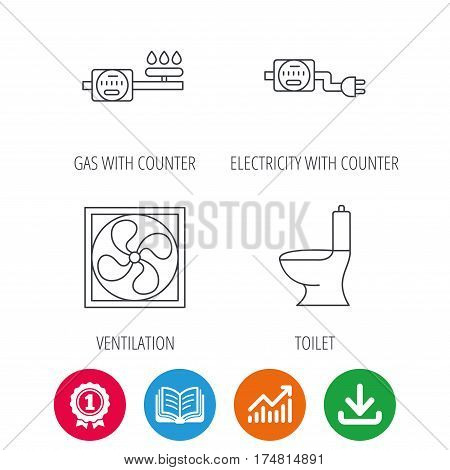 Ventilation, toilet and gas counter icons. Electricity counter linear sign. Award medal, growth chart and opened book web icons. Download arrow. Vector