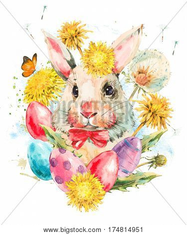 Watercolor cute white rabbit with red bow, butterfly and spring flowers, yellow and white dandelions, colored eggs. Easter spring hand painted illustration isolated on white background