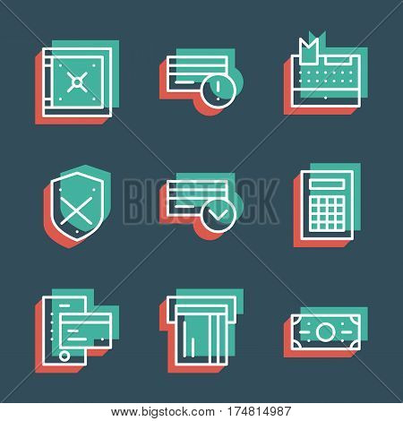 Unique thin line pixel perfect icon set. Anaglyph 3D colorful style. Business finance, money, banknote, credit card, banking icons. Suitable for web and print Isolated vector icons.
