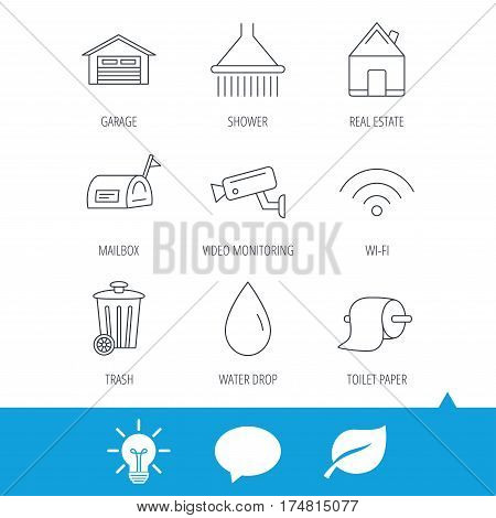 Wi-fi, video monitoring and real estate icons. Toilet paper, shower and water drop linear signs. Trash, garage flat line icons. Light bulb, speech bubble and leaf web icons. Vector