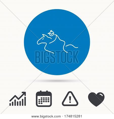Horseback riding icon. Jockey rider sign. Horse sport symbol. Calendar, attention sign and growth chart. Button with web icon. Vector