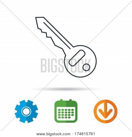 Key icon. Door unlock tool sign. Calendar, cogwheel and download arrow signs. Colored flat web icons. Vector