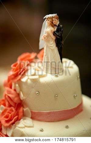 Funny figurines suite at a luxury wedding white cake decorated with red rose flowers.