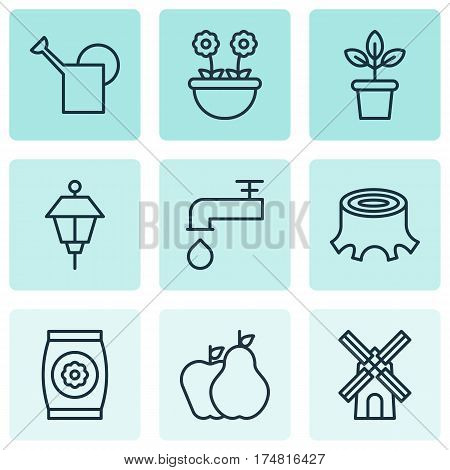 Set Of 9 Farm Icons. Includes Spigot, Fertilizer, Herb And Other Symbols. Beautiful Design Elements.