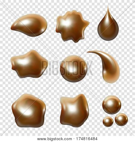 Gold metal droplet set realistic isolated on transparent white background. Golden ball, sphere, liquid metal. Spherical 3D orbs. Jewelry gemstone. Vector Illustration for your design and business.