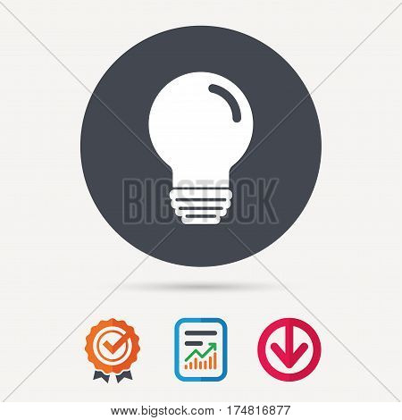 Light bulb icon. Lamp sign. Illumination technology symbol. Report document, award medal with tick and new tag signs. Colored flat web icons. Vector