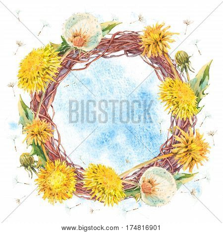 Watercolor floral spring round wreath with yellow and white dandelions, Natural hand painted floral watercolor flower illustration isolated on white background