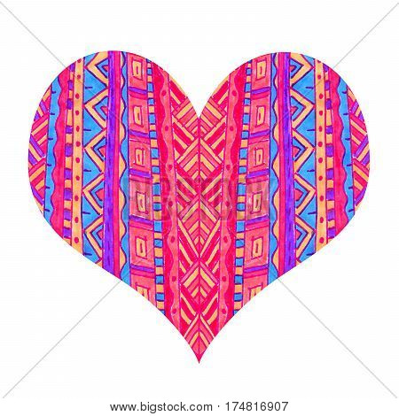 Bright heart with abstract pattern on white background hand draw