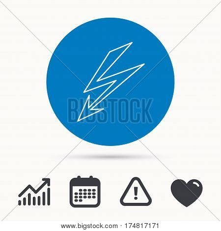 Lightening bolt icon. Power supply sign. Electricity symbol. Calendar, attention sign and growth chart. Button with web icon. Vector