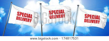 special delivery, 3D rendering, triple flags