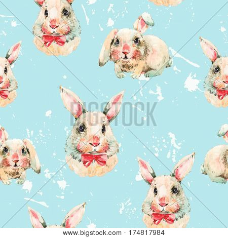 Watercolor seamless pattern with white rabbit, red bow. Animal bunny watercolor illustration. Easter spring hand painted art work on blue background