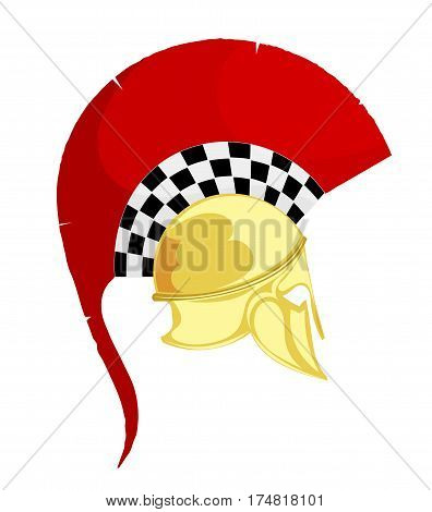 Illustration of the ancient Greek bronze helmet with a red crest on white background. Vintage design object for the historic site. Stock vector
