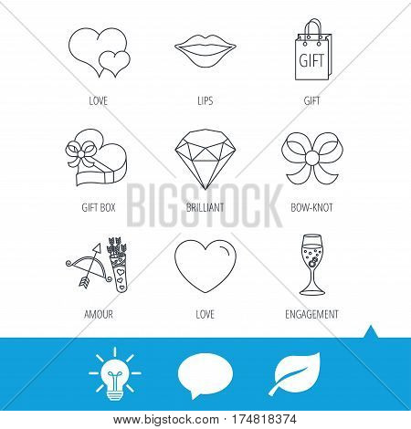 Love heart, brilliant and engagement ring icons. Bow, smile and gift box linear signs. Valentine amour arrows flat line icons. Light bulb, speech bubble and leaf web icons. Vector