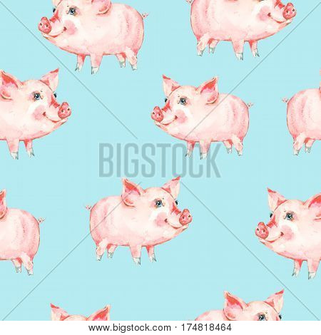 Watercolor seamless pattern with cute piggy. Animal pig watercolor illustration. Hand painted art work on blue background