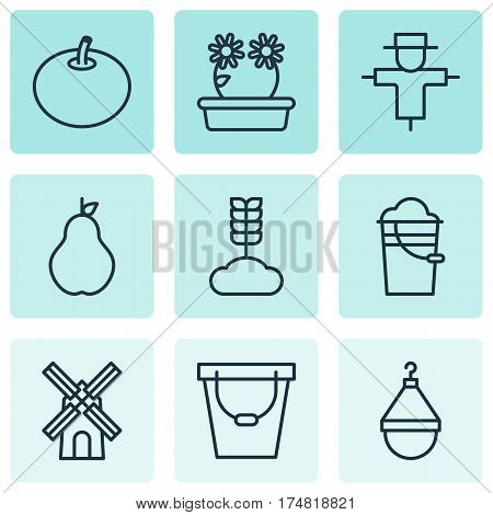 Set Of 9 Gardening Icons. Includes Radish, Pail, Hanger And Other Symbols. Beautiful Design Elements.