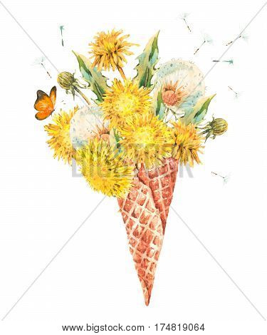 Watercolor bouquet of fresh dandelions in the waffle cone natural floral greeting card isolated on white background.