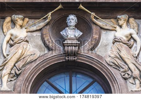 Close up on facade of Teatro Massimo Bellini opera house in Catania city Sicily Island Italy