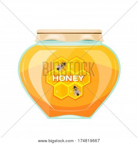 Vector illustration jars of honey on a white background. Isolate. Glass jar with a yellow honey paper cover and label. Stock vector illustration