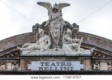Statue on the roof of Teatro Massimo Bellini opera house in Catania city Sicily Island Italy