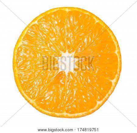 Orange slice fruit isolated on white background