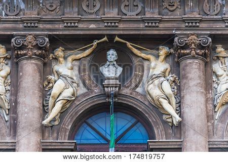 Details of facade of Teatro Massimo Bellini opera house in Catania city Sicily Island Italy