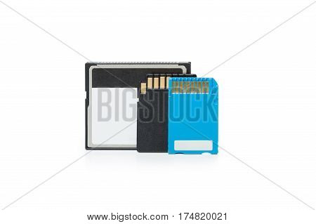 Memory stick SD and Compact Flash Memory Cards isolated on White Background