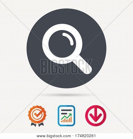 Magnifier icon. Search magnifying glass symbol. Report document, award medal with tick and new tag signs. Colored flat web icons. Vector