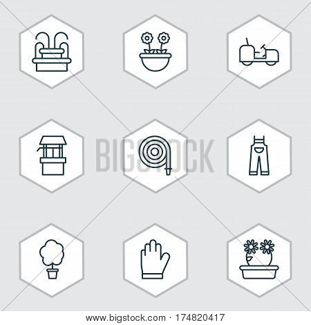 Set Of 9 Planting Icons. Includes Floweret, Protection Mitt, Agrimotor And Other Symbols. Beautiful Design Elements.