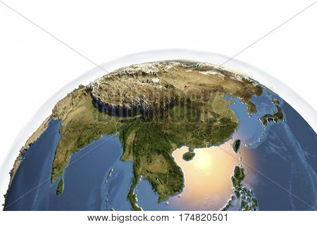 Planet Earth from space showing Asia with enhanced bump isolated on white background, 3D illustration, Elements of this image furnished by NASA