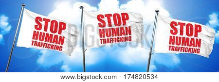 stop human trafficking, 3D rendering, triple flags