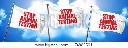 stop animal testing, 3D rendering, triple flags