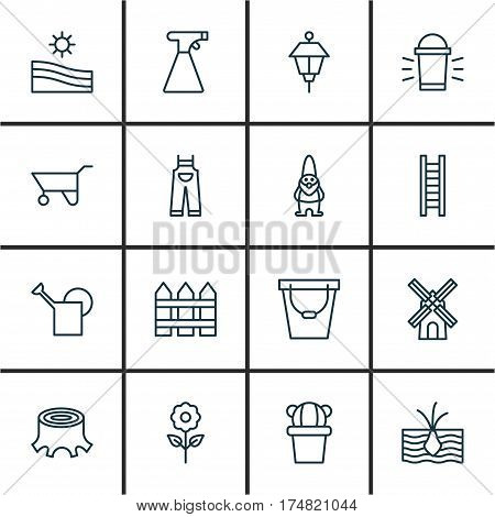 Set Of 16 Planting Icons. Includes Pail, Bailer, Growing Plant And Other Symbols. Beautiful Design Elements.