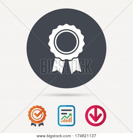 Medal icon. Winner award emblem symbol. Report document, award medal with tick and new tag signs. Colored flat web icons. Vector