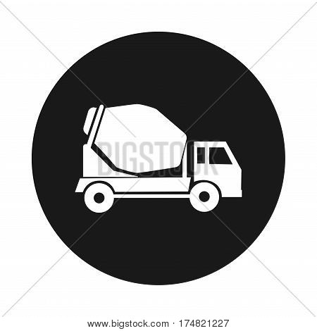 cement mixer truck. round icon. Construction lorry. on white