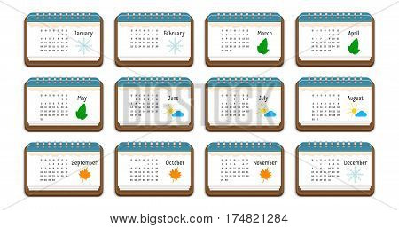 Calendar icon with the name of months weekdays weeks and color picture for each month isolated