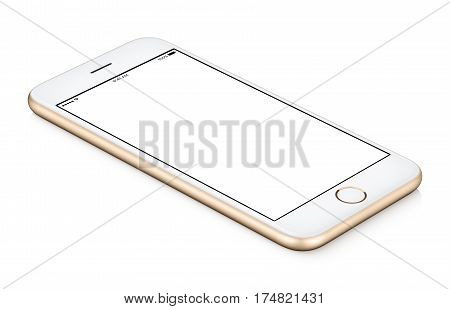 Gold mobile smart phone mock up counterclockwise rotated lies on the surface with blank screen isolated on white background. You can use this smartphone mock-up for your web project or design presentation.