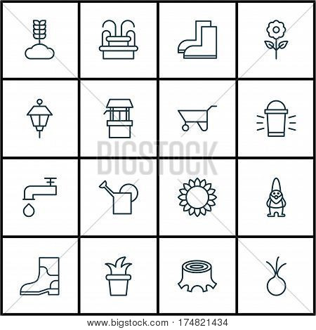 Set Of 16 Holticulture Icons. Includes Water Monument, Dwarf, Water Source And Other Symbols. Beautiful Design Elements.