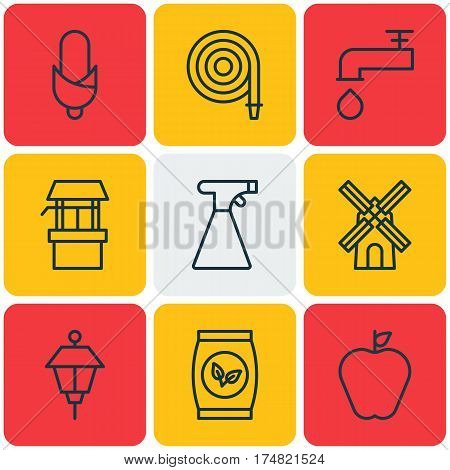 Set Of 9 Agriculture Icons. Includes Water Source, Spigot, Sprinkler And Other Symbols. Beautiful Design Elements.