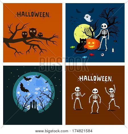 Halloween set. Pumpkins with skeletons and ghosts. Set of posters for Halloween Party Night. Flat design, vector illustration.