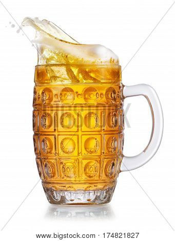 lager beer in mug with splash isolated on white background. Beer splash. Glass goblet with beer up. Pub alcohol drink