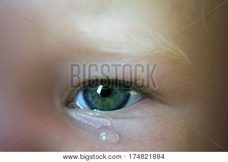 Close-up of baby eye with teardrop under it