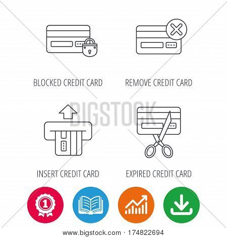 Bank credit card icons. Banking, blocked and expired debit card linear signs. Award medal, growth chart and opened book web icons. Download arrow. Vector