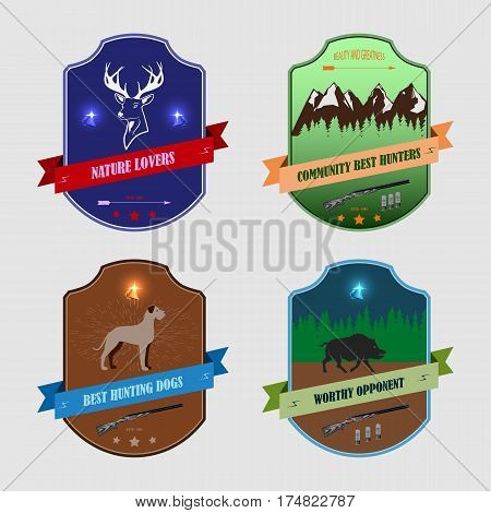 Set of four stickers for hunters. dog on a forest background. running boar. deer stand. rifles and a diamond.